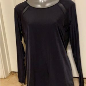 Lululemon black sheer open back shirt